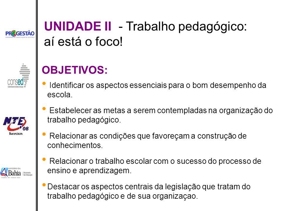 UNIDADE II - Trabalho pedagógico: aí está o foco!