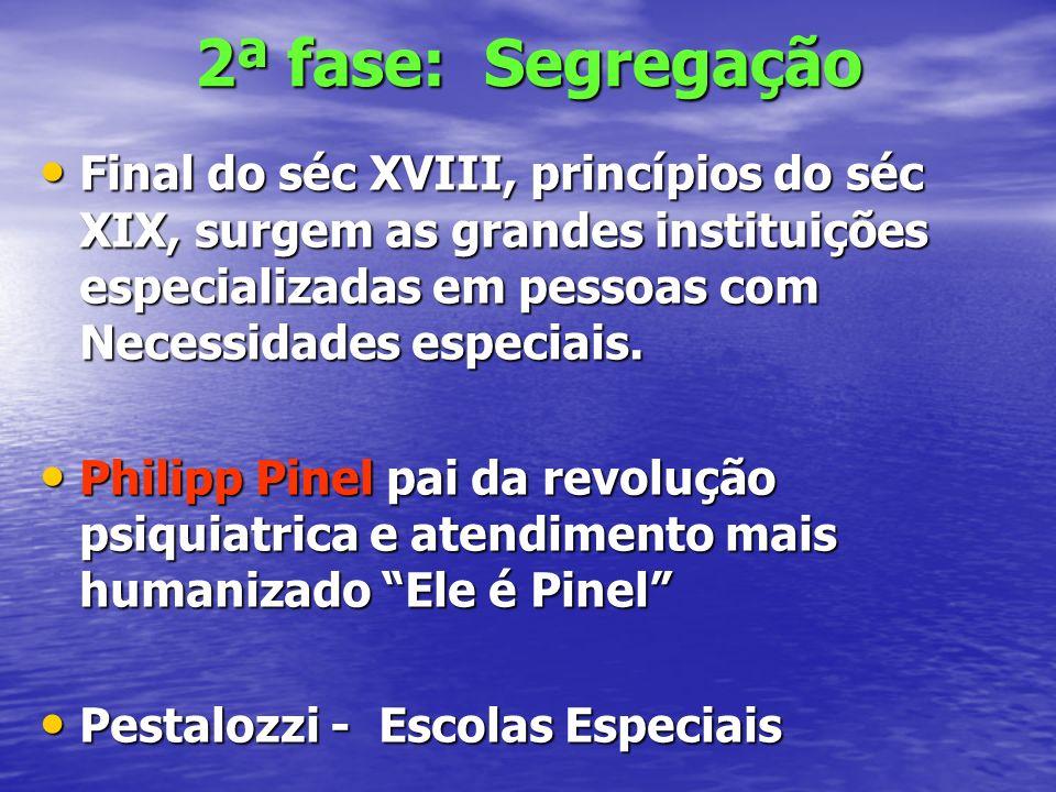 2ª fase: Segregação Final do séc XVIII, princípios do séc XIX, surgem as grandes instituições especializadas em pessoas com Necessidades especiais.