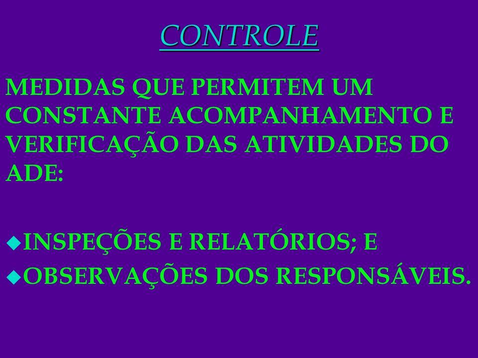CONTROLE MEDIDAS QUE PERMITEM UM CONSTANTE ACOMPANHAMENTO E VERIFICAÇÃO DAS ATIVIDADES DO ADE: INSPEÇÕES E RELATÓRIOS; E.