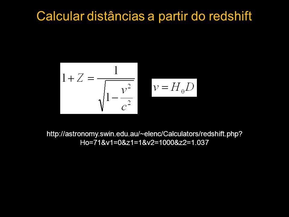 Calcular distâncias a partir do redshift