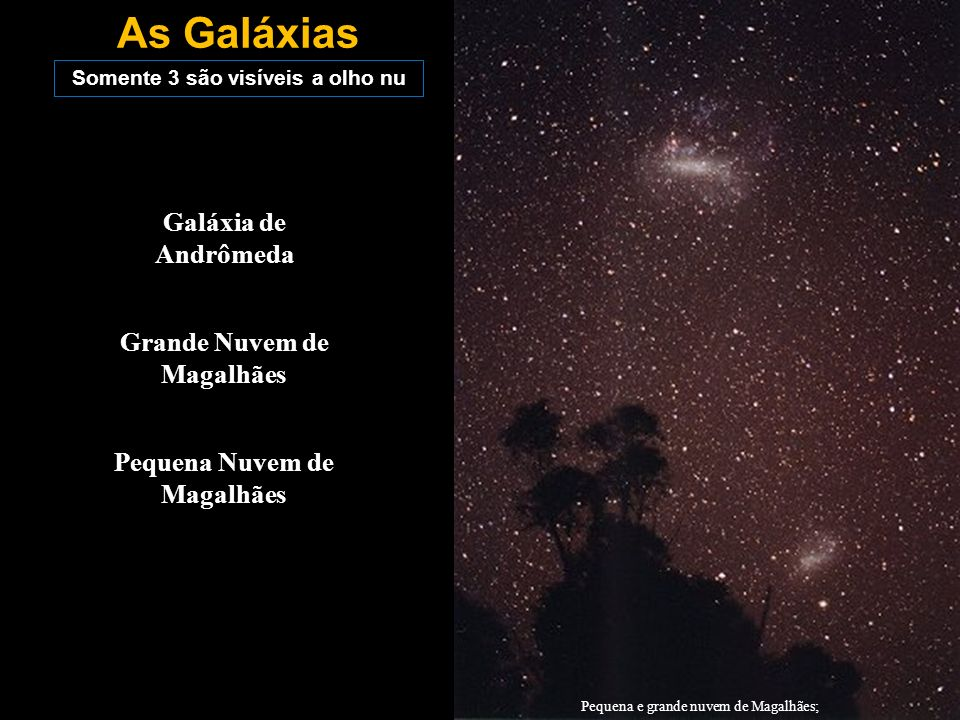 As Galáxias Galáxia de Andrômeda Grande Nuvem de Magalhães