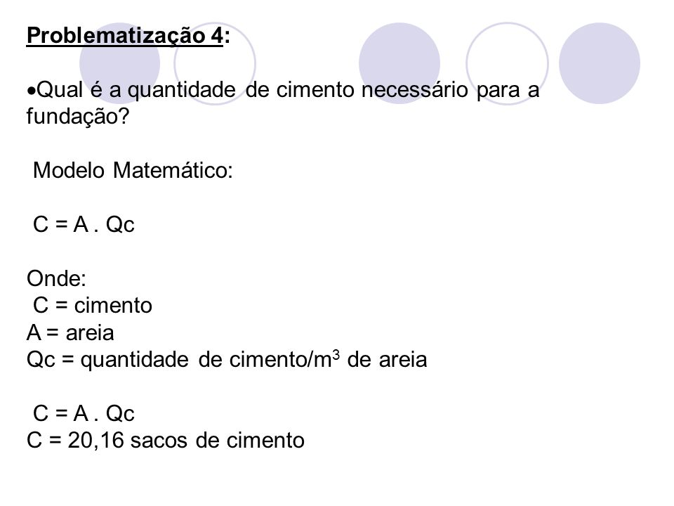 Problematização 4: Qual é a quantidade de cimento necessário para a fundação Modelo Matemático: