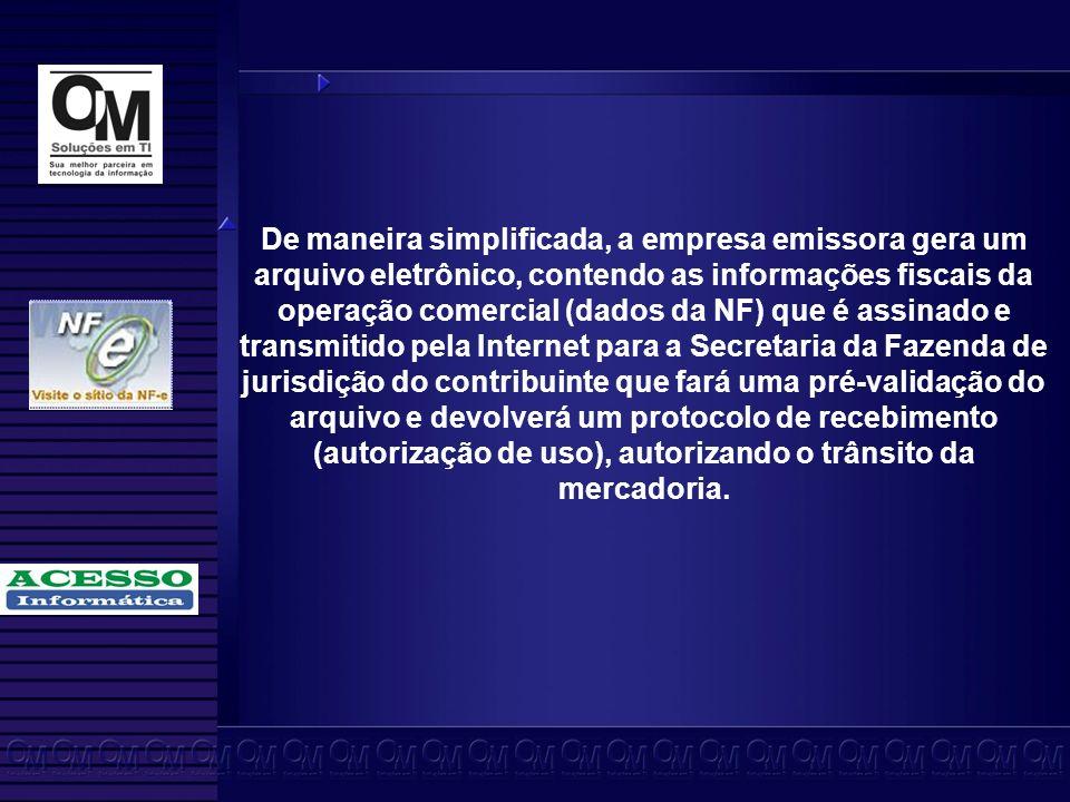 De maneira simplificada, a empresa emissora gera um arquivo eletrônico, contendo as informações fiscais da operação comercial (dados da NF) que é assinado e transmitido pela Internet para a Secretaria da Fazenda de jurisdição do contribuinte que fará uma pré-validação do arquivo e devolverá um protocolo de recebimento (autorização de uso), autorizando o trânsito da mercadoria.