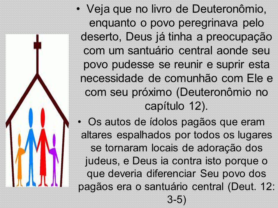 Veja que no livro de Deuteronômio, enquanto o povo peregrinava pelo deserto, Deus já tinha a preocupação com um santuário central aonde seu povo pudesse se reunir e suprir esta necessidade de comunhão com Ele e com seu próximo (Deuteronômio no capítulo 12).
