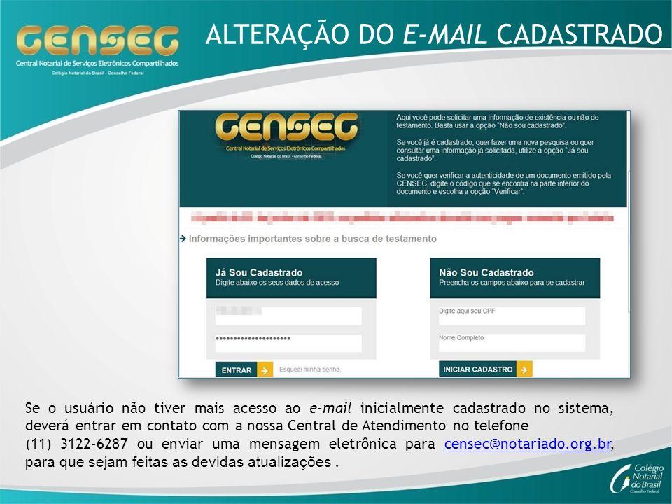 ALTERAÇÃO DO E-MAIL CADASTRADO