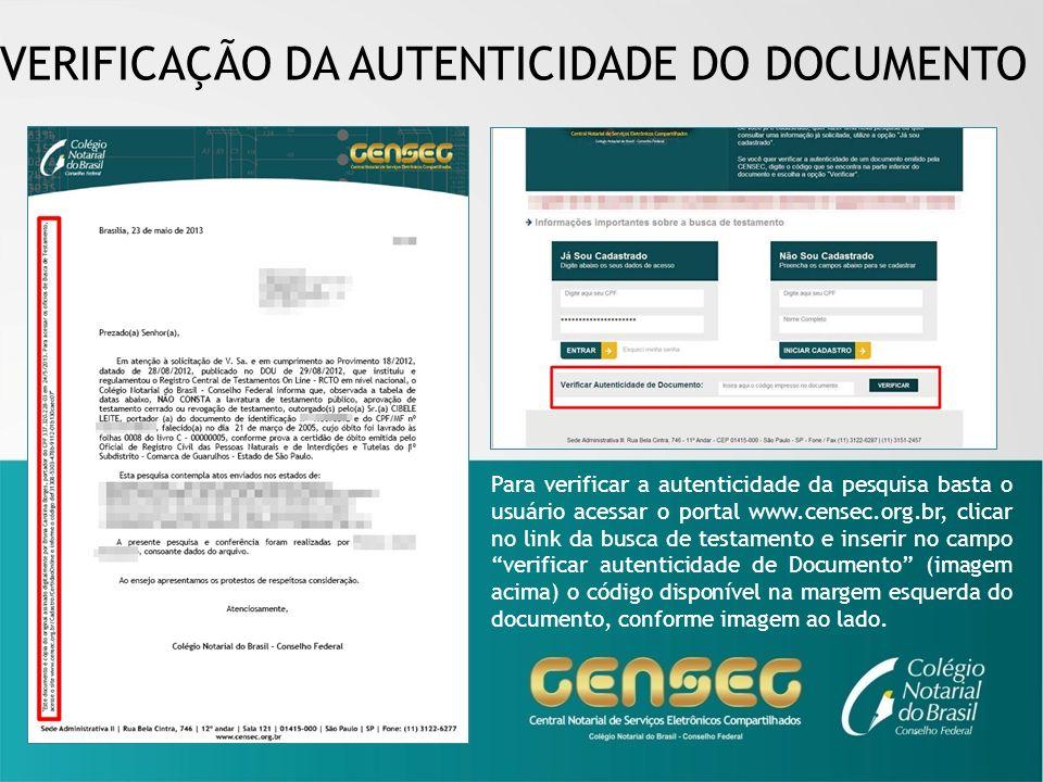 VERIFICAÇÃO DA AUTENTICIDADE DO DOCUMENTO
