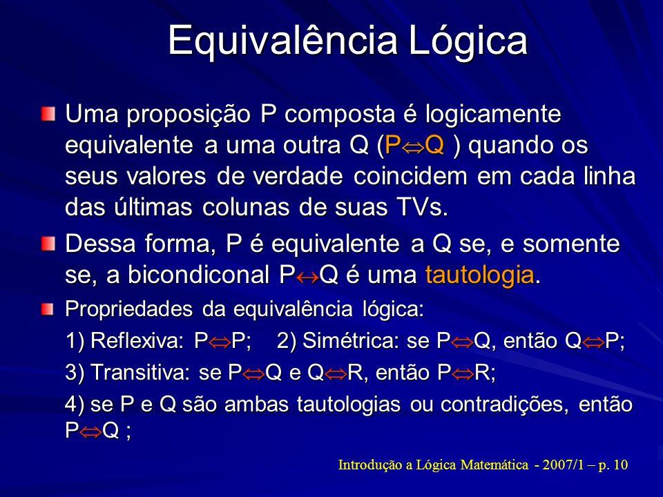 Introdução a Lógica Matemática - 2007/1 – p. 10