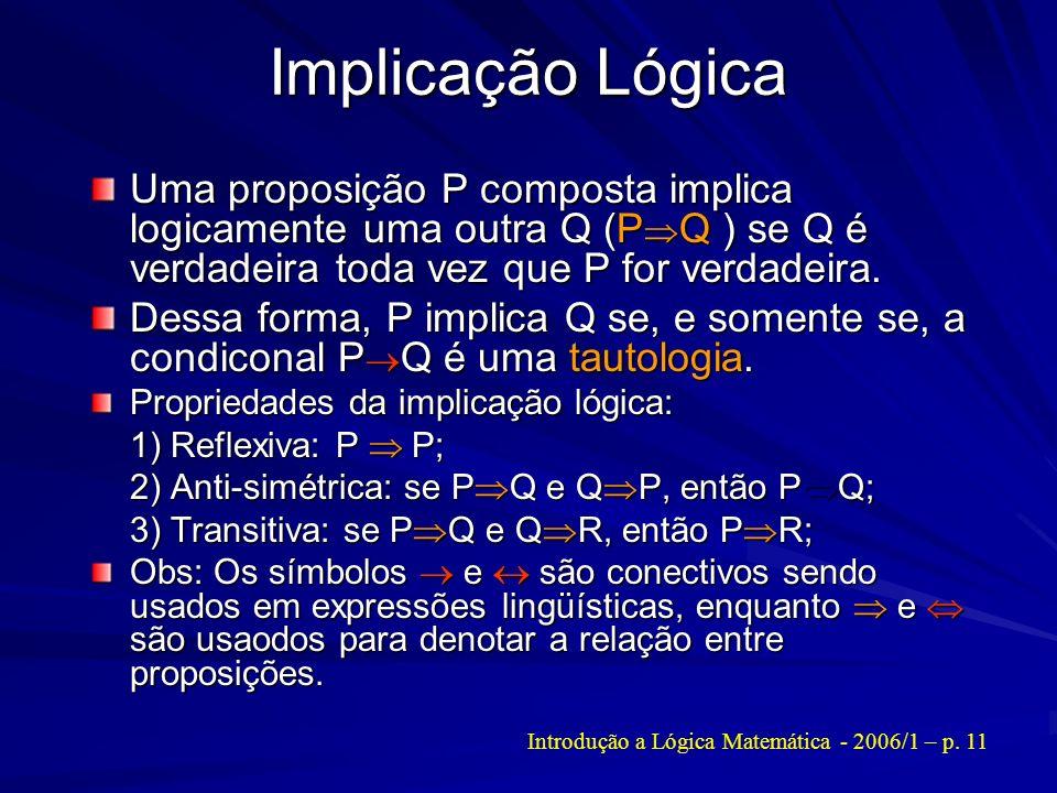 Introdução a Lógica Matemática - 2006/1 – p. 11