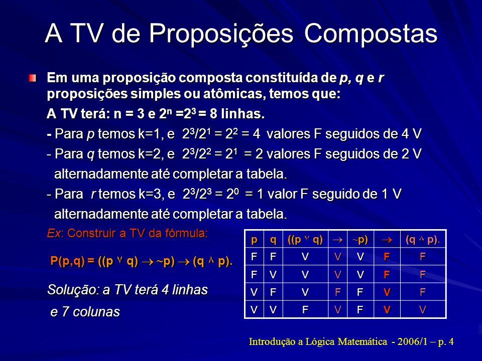 A TV de Proposições Compostas