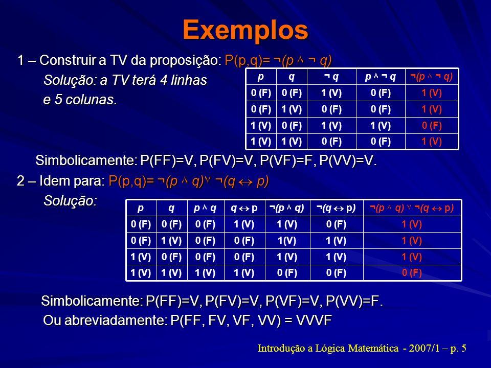 Introdução a Lógica Matemática - 2007/1 – p. 5