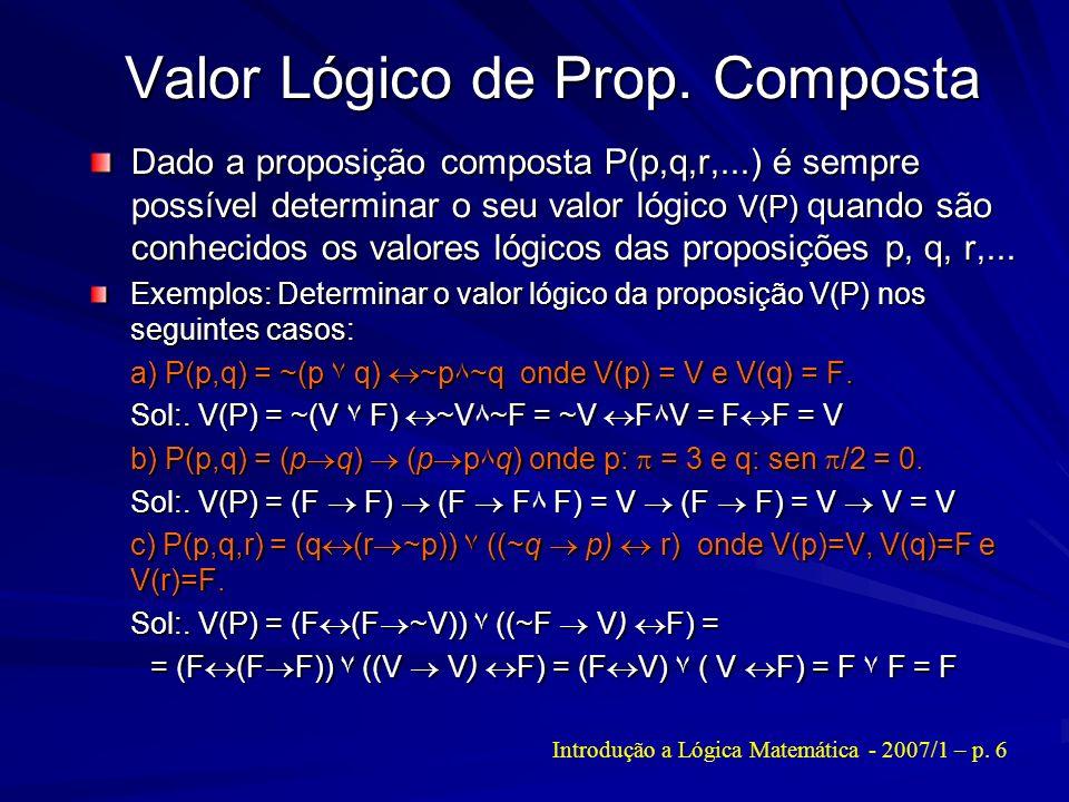 Valor Lógico de Prop. Composta