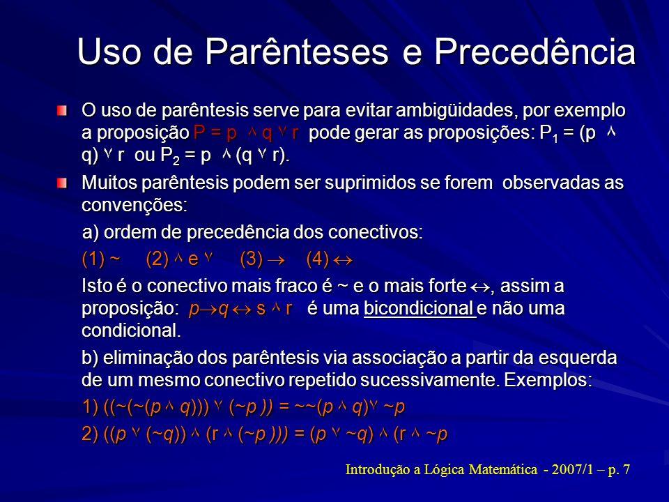 Uso de Parênteses e Precedência