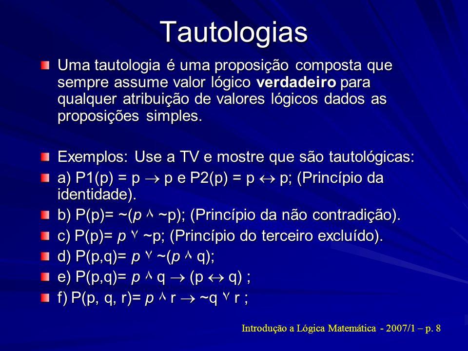Introdução a Lógica Matemática - 2007/1 – p. 8