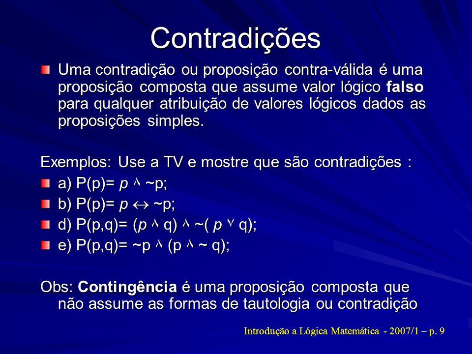 Introdução a Lógica Matemática - 2007/1 – p. 9