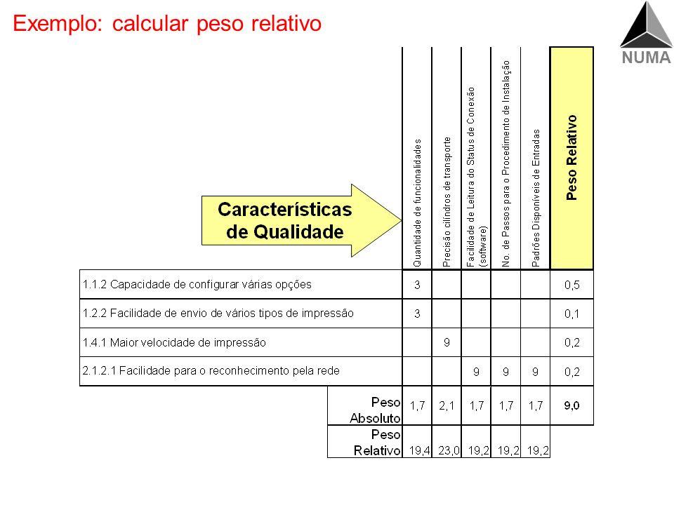 Exemplo: calcular peso relativo