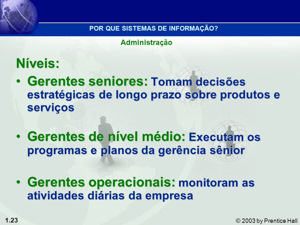 Gerentes operacionais: monitoram as atividades diárias da empresa