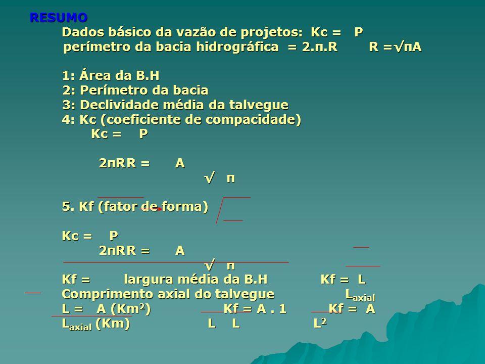 Dados básico da vazão de projetos: Kc = P