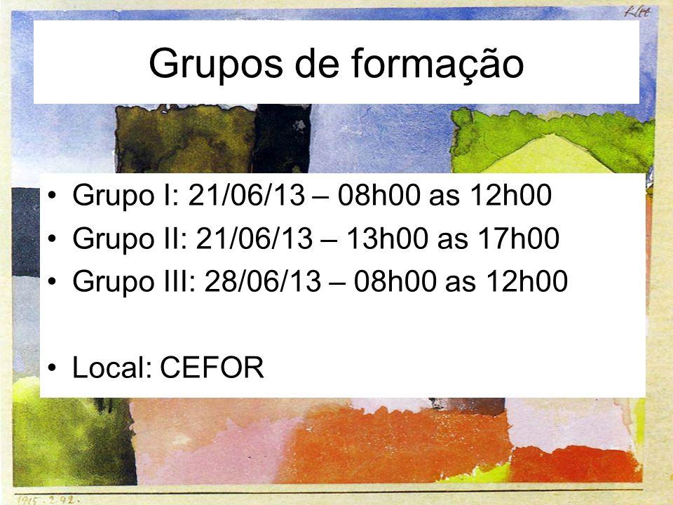Grupos de formação Grupo I: 21/06/13 – 08h00 as 12h00