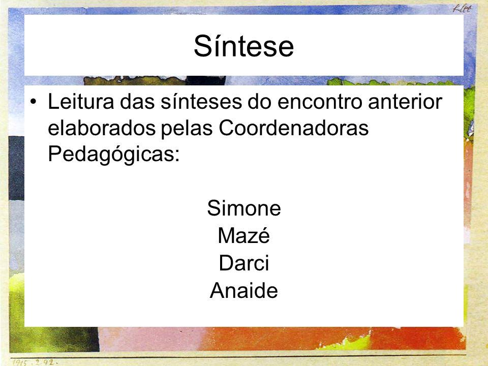 Síntese Leitura das sínteses do encontro anterior elaborados pelas Coordenadoras Pedagógicas: Simone.