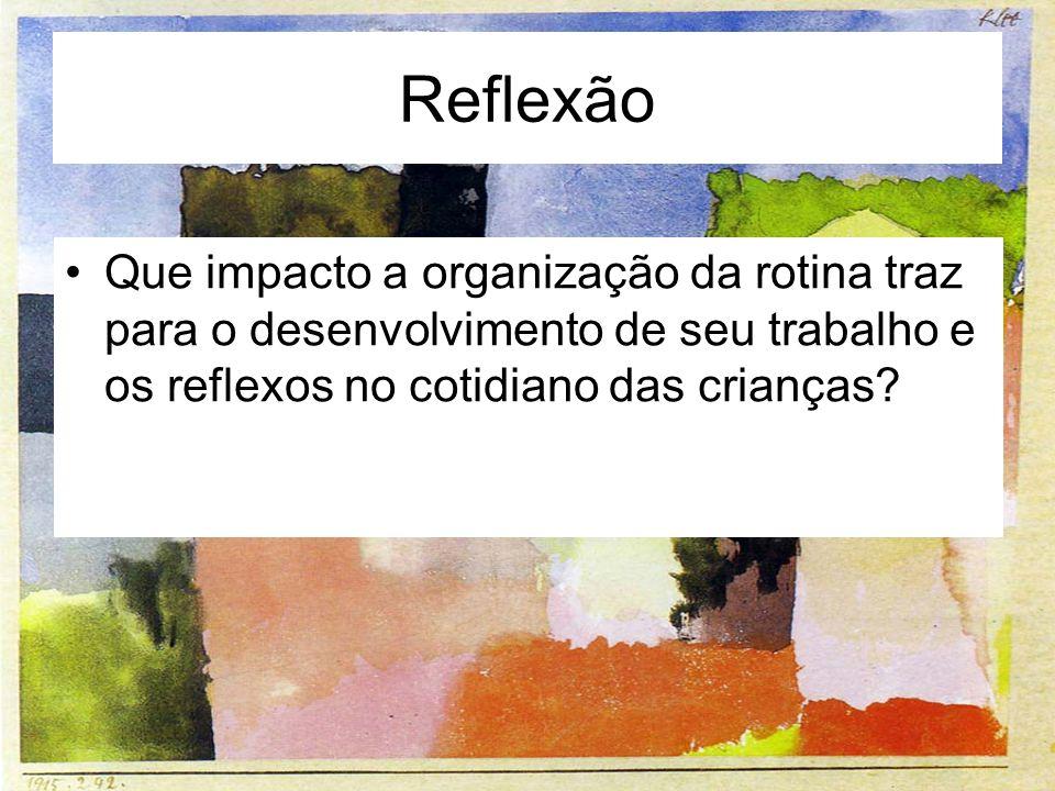Reflexão Que impacto a organização da rotina traz para o desenvolvimento de seu trabalho e os reflexos no cotidiano das crianças