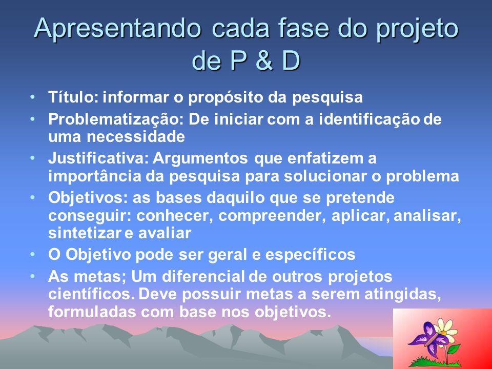 Apresentando cada fase do projeto de P & D