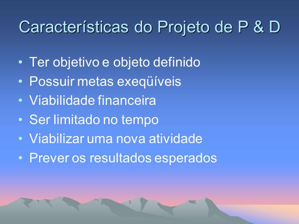Características do Projeto de P & D