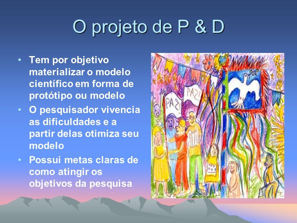 O projeto de P & D Tem por objetivo materializar o modelo científico em forma de protótipo ou modelo.