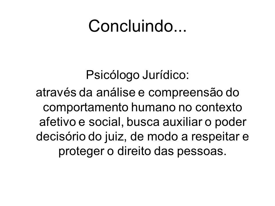 Concluindo... Psicólogo Jurídico: