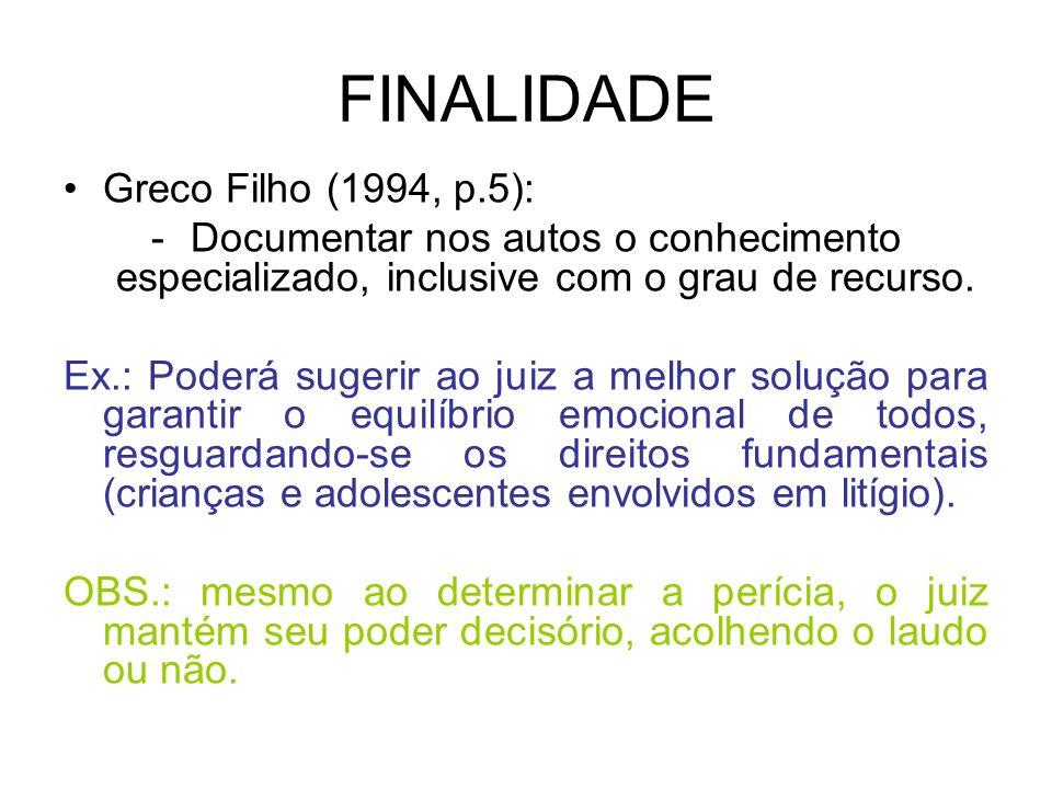 FINALIDADE Greco Filho (1994, p.5):