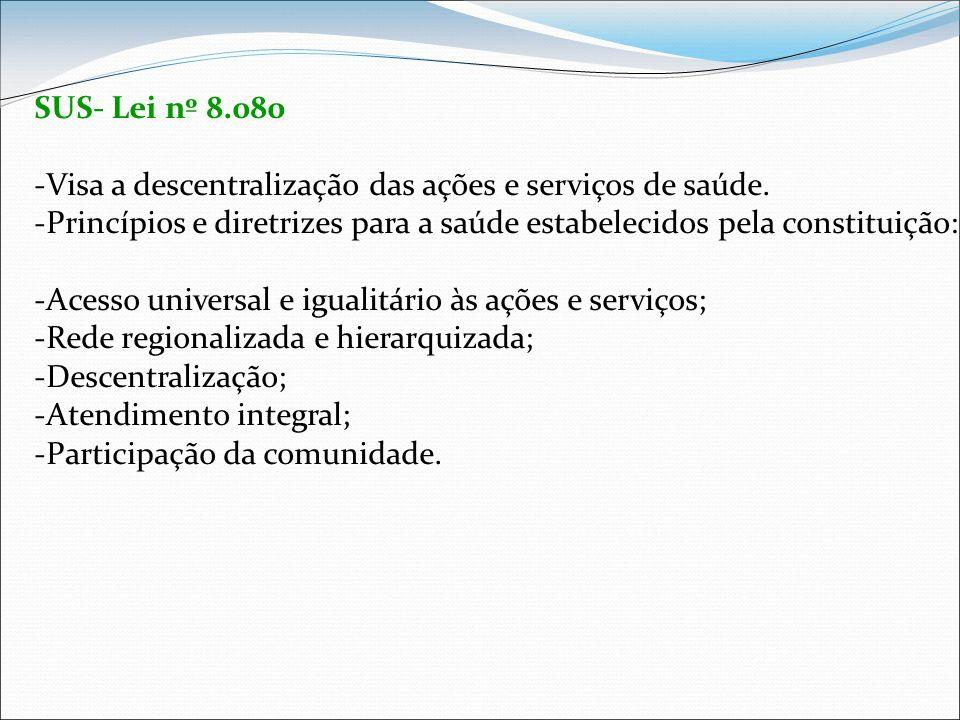 SUS- Lei nº 8.080 Visa a descentralização das ações e serviços de saúde. Princípios e diretrizes para a saúde estabelecidos pela constituição: