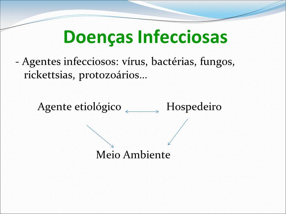 Doenças Infecciosas - Agentes infecciosos: vírus, bactérias, fungos, rickettsias, protozoários... Agente etiológico Hospedeiro.
