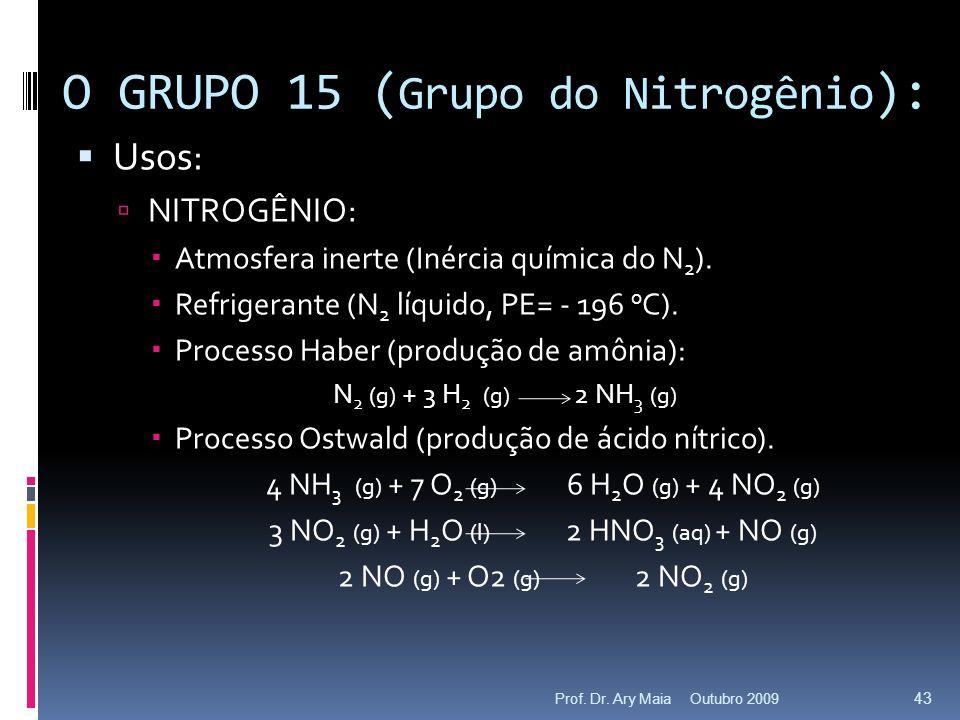 O GRUPO 15 (Grupo do Nitrogênio):
