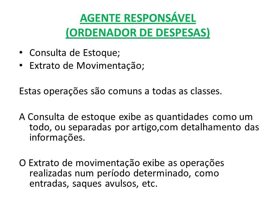 AGENTE RESPONSÁVEL (ORDENADOR DE DESPESAS)