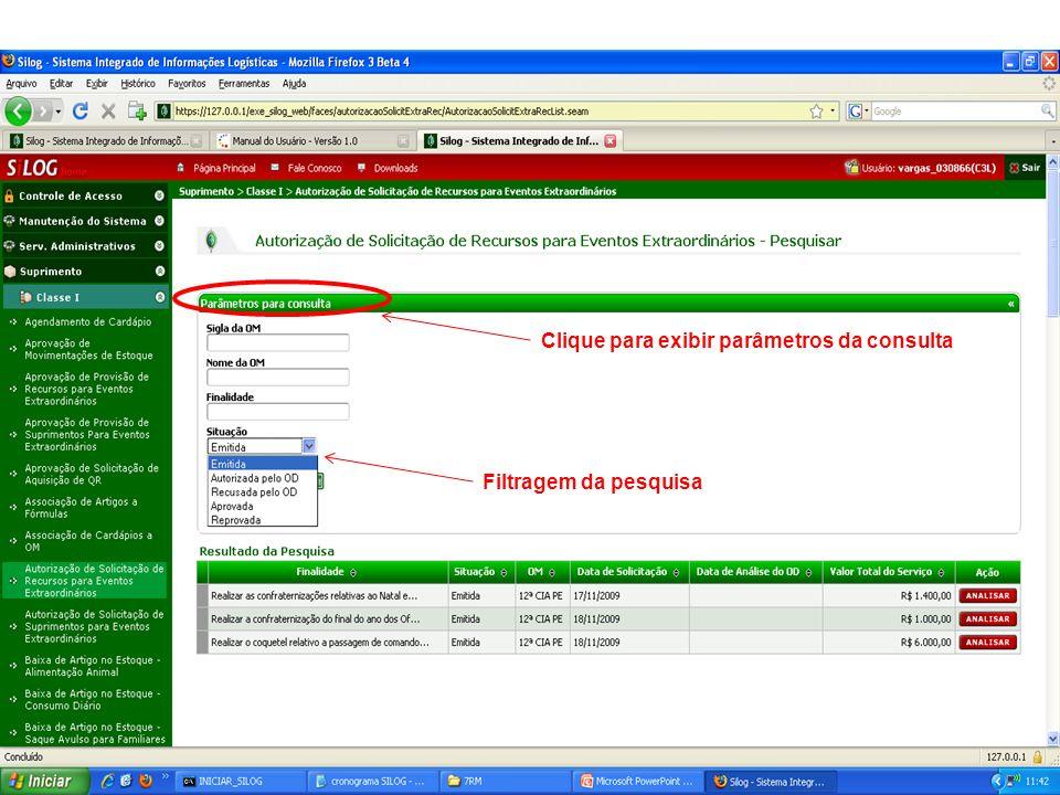 Clique para exibir parâmetros da consulta