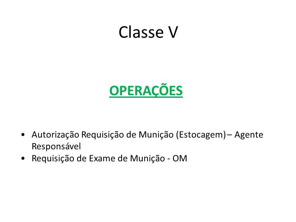 Classe V OPERAÇÕES. Autorização Requisição de Munição (Estocagem) – Agente Responsável. Requisição de Exame de Munição - OM.