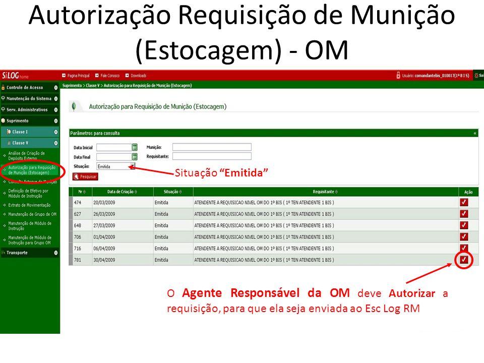 Autorização Requisição de Munição (Estocagem) - OM