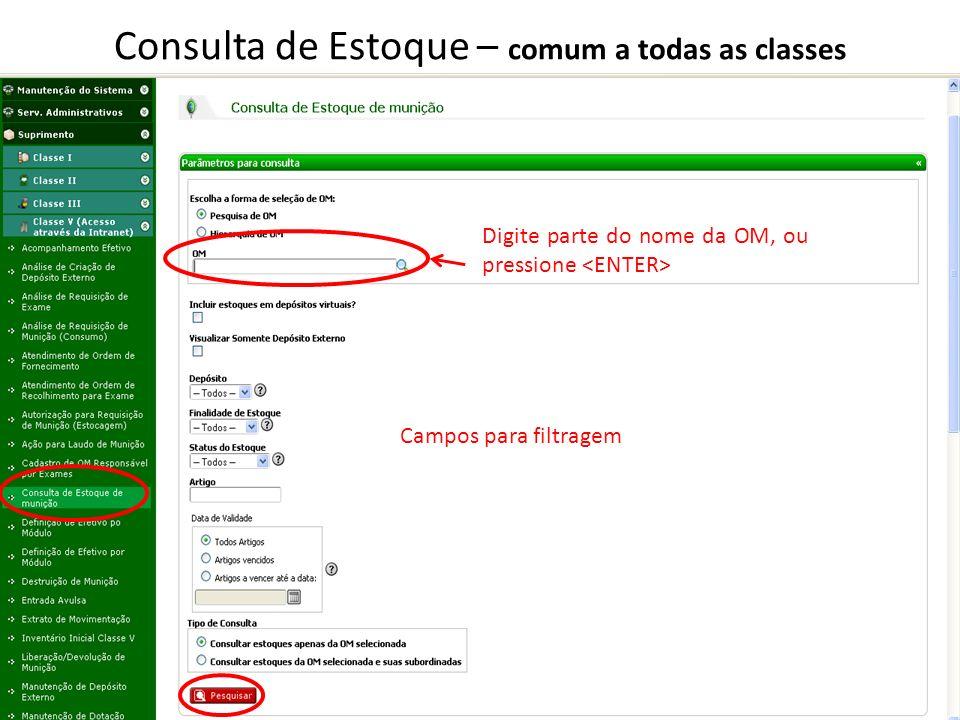 Consulta de Estoque – comum a todas as classes