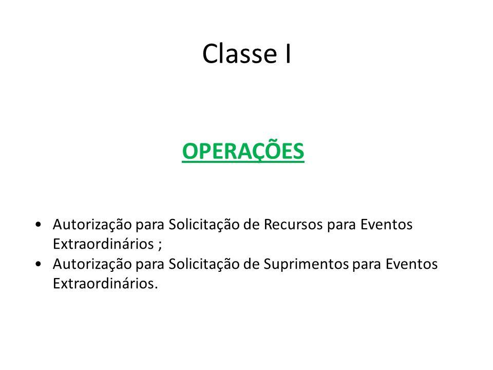 Classe I OPERAÇÕES. Autorização para Solicitação de Recursos para Eventos Extraordinários ;