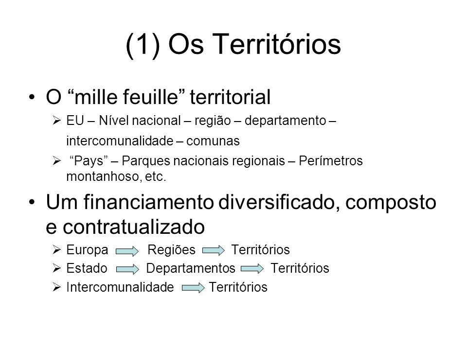 (1) Os Territórios O mille feuille territorial