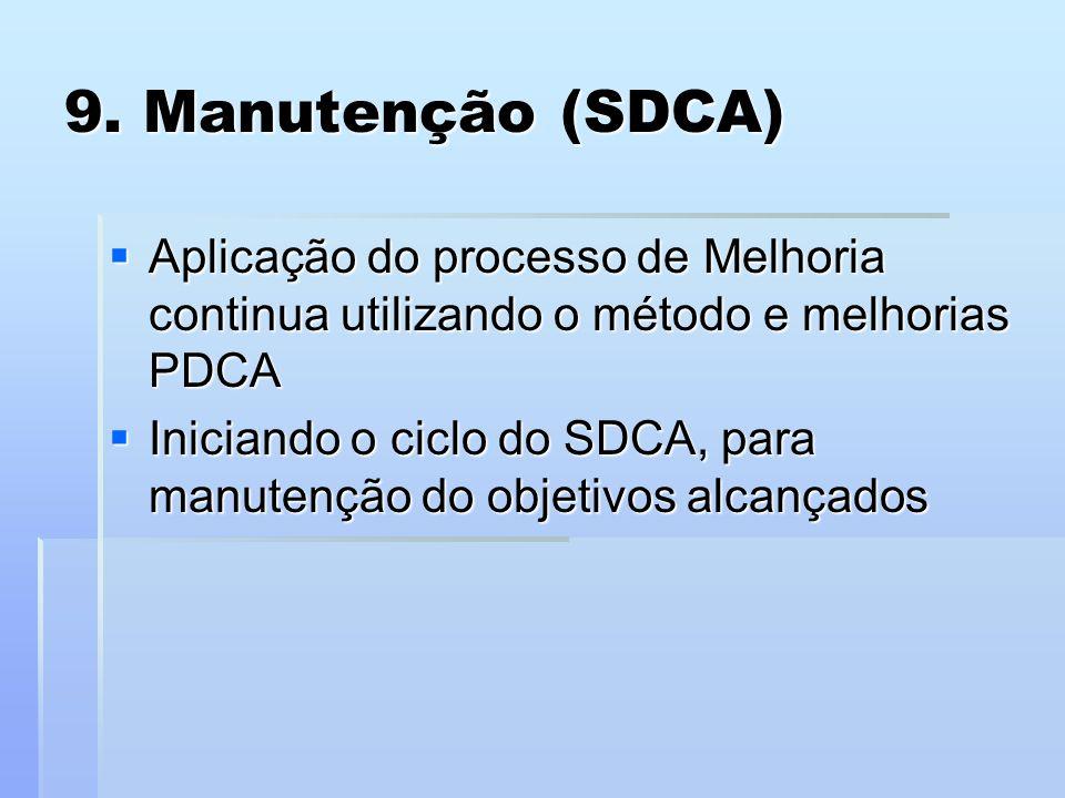 9. Manutenção (SDCA) Aplicação do processo de Melhoria continua utilizando o método e melhorias PDCA.