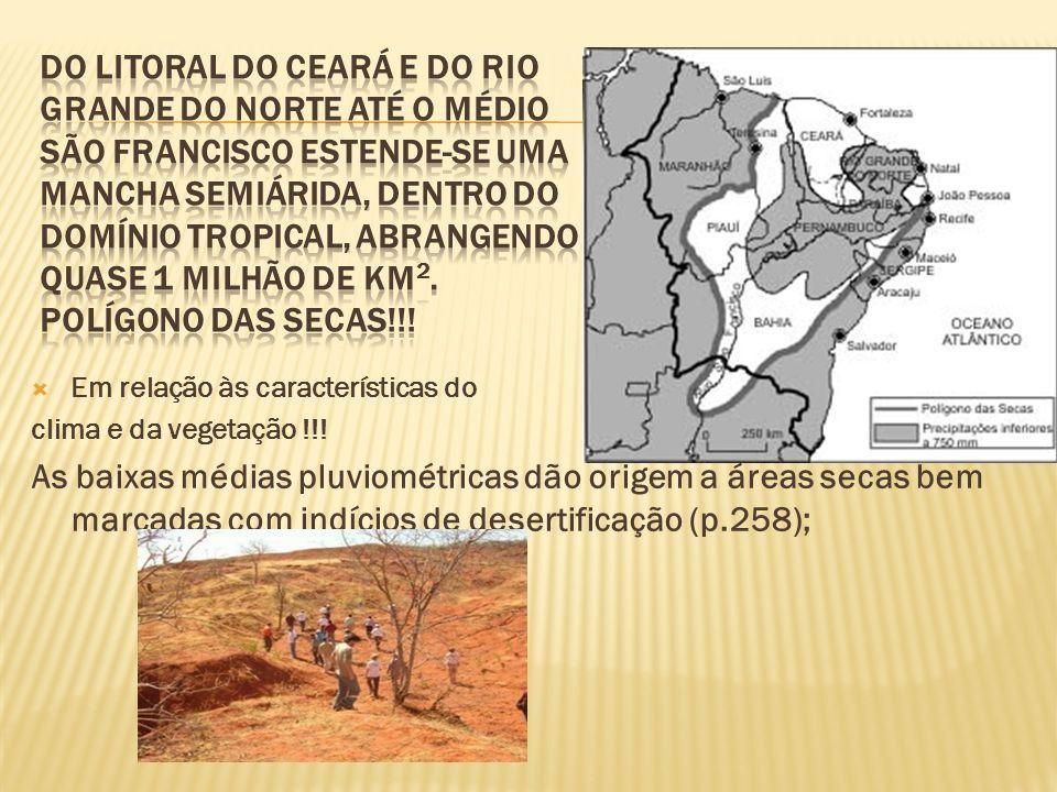 Do litoral do Ceará e do Rio Grande do Norte até o médio São Francisco estende-se uma mancha semiárida, dentro do domínio tropical, abrangendo quase 1 milhão de km2. Polígono das secas!!!