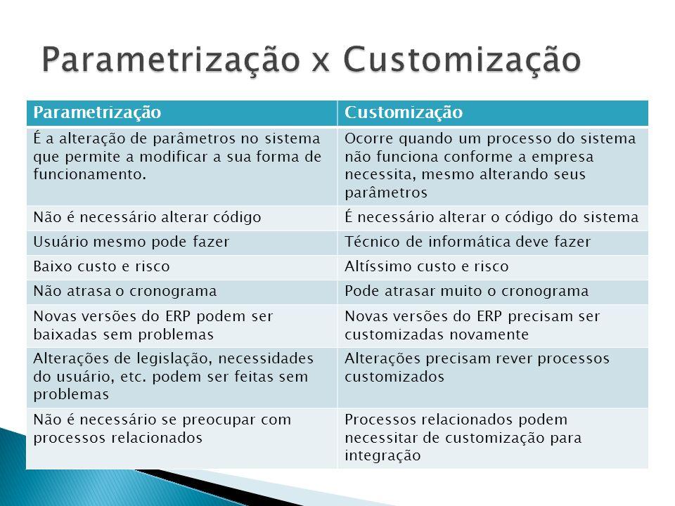 Parametrização x Customização