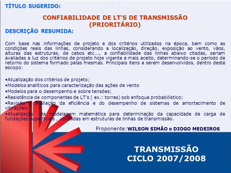 CONFIABILIDADE DE LT S DE TRANSMISSÃO