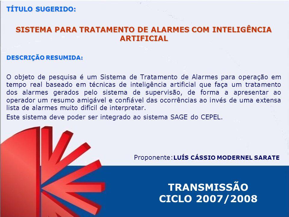 SISTEMA PARA TRATAMENTO DE ALARMES COM INTELIGÊNCIA ARTIFICIAL