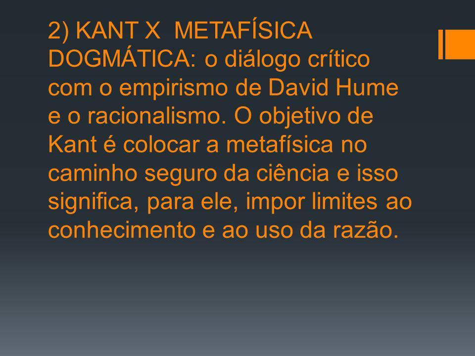 2) KANT X METAFÍSICA DOGMÁTICA: o diálogo crítico com o empirismo de David Hume e o racionalismo.