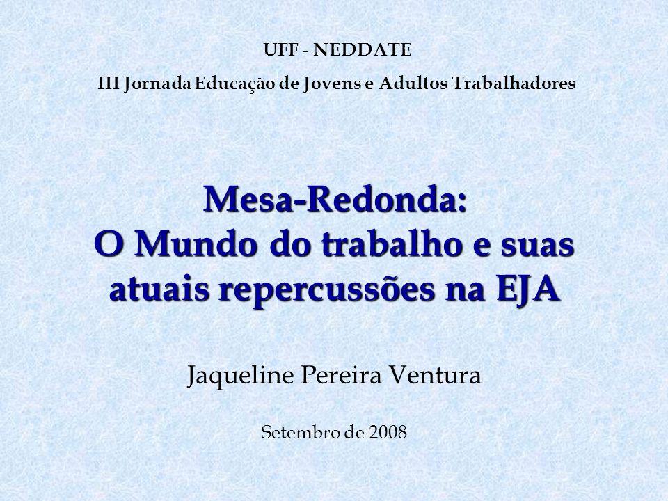 Mesa-Redonda: O Mundo do trabalho e suas atuais repercussões na EJA