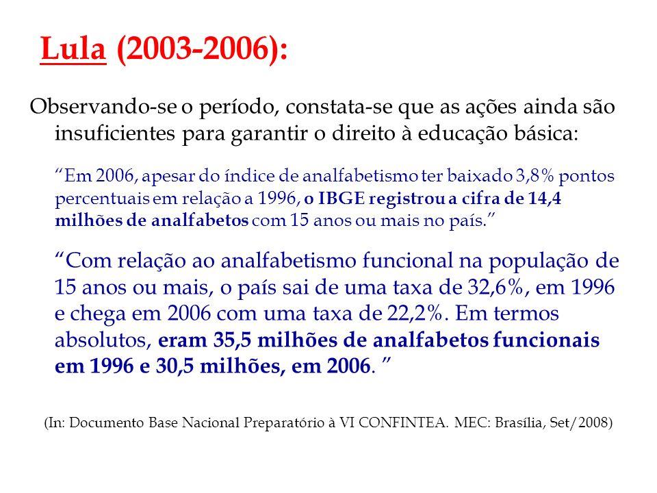 Lula (2003-2006): Observando-se o período, constata-se que as ações ainda são insuficientes para garantir o direito à educação básica: