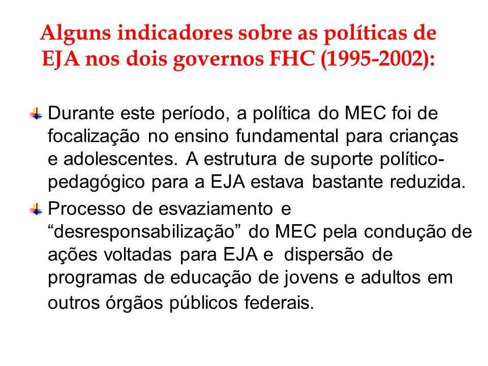 Alguns indicadores sobre as políticas de EJA nos dois governos FHC (1995-2002):
