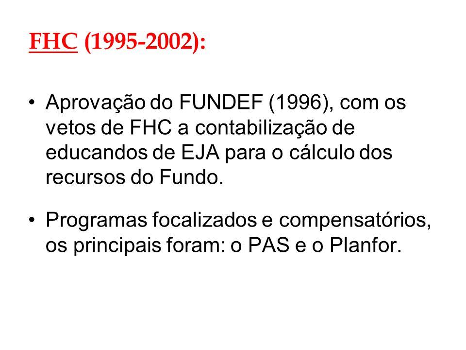 FHC (1995-2002):Aprovação do FUNDEF (1996), com os vetos de FHC a contabilização de educandos de EJA para o cálculo dos recursos do Fundo.