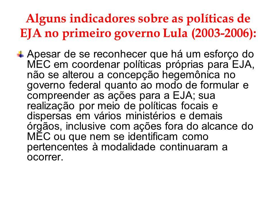 Alguns indicadores sobre as políticas de EJA no primeiro governo Lula (2003-2006):